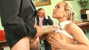 New Big Tits Intern in Shortest School Skirt proves herself before getting the Job in front of the Boss